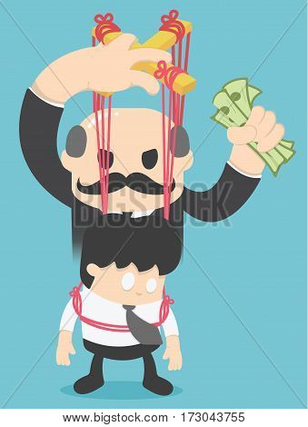 Business concept illustration of a businessman being controlled with People have money