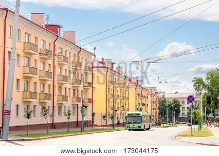 Gomel Belarus - August 24 2013: trolleybus rides on the street LABOUR