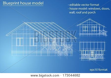 3D rendering of house wireframe structure. Vector construction design