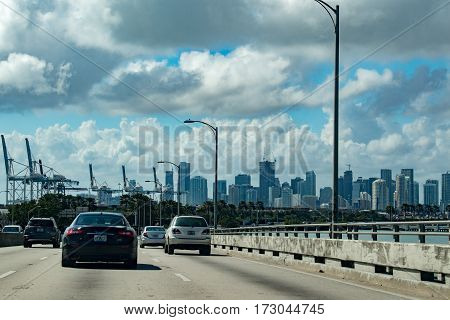 Miami, Usa - February 7, 2017 - Florida Congested Highways