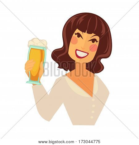 Woman holding tall glass of beer with foam isolated on white background. Smiling character in blouse vector illustration in flat style. Light refreshing alcoholic drink in cheering ladies hand