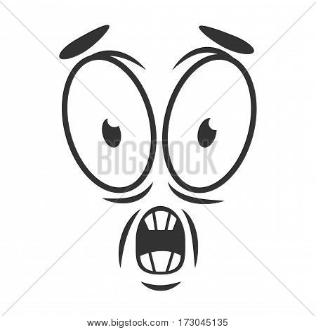 Shocked emotion icon logo design in flat style. Simple horrify cartoon face in black and white colors. Frightened graphic character vector illustration in line sketch. Scared expression, fear symbol