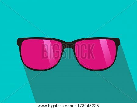 Glasses with pink lens. Long shadow flat design. green background. Vector illustration.