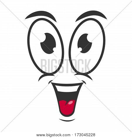 Happy emotion icon logo design in flat style. Simple joyful cartoon face in black and white colors. Successful graphic character vector illustration in line sketch. Glad expression, satisfied symbol
