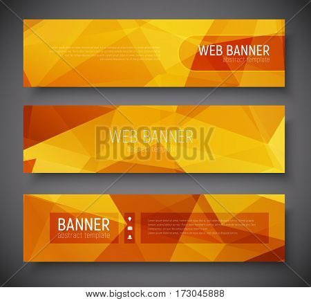 Web Banner Standard Size. Template Abstract Polygonal Background Gold