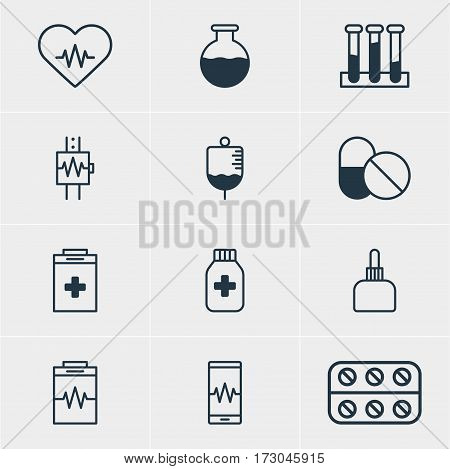 Vector Illustration Of 12 Medical Icons. Editable Pack Of Antibody, Treatment, Medicine Jar And Other Elements.