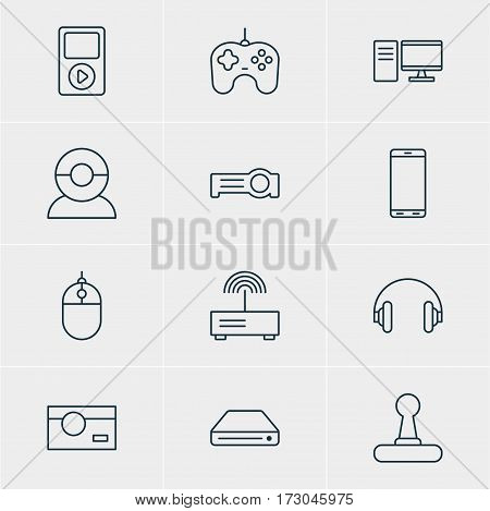 Vector Illustration Of 12 Technology Icons. Editable Pack Of Cursor Controller, Modem, Video Chat And Other Elements.