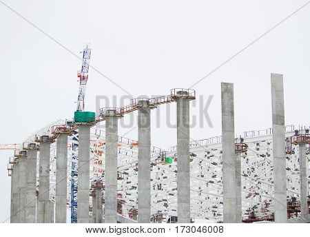 The huge construction site in the daytime. Building