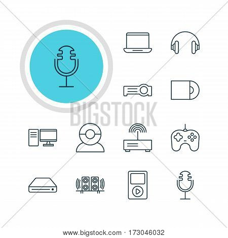 Vector Illustration Of 12 Device Icons. Editable Pack Of Computer, Media Controller, Sound Recording And Other Elements.