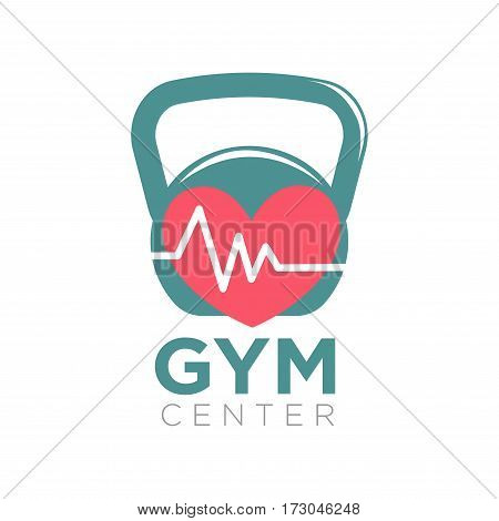 Gym center logotype design with kettlebell and heart with cardio sign isolated on white. Emblem logo for sport center promotion vector illustration. Label sign of sport center with medical service