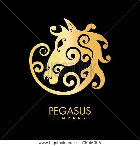 Pegasus company golden horse creative logo design isolated on black background. Head of fast animal branding label vector illustration. Silhouette of powerful pony, symbol of strength and freedom
