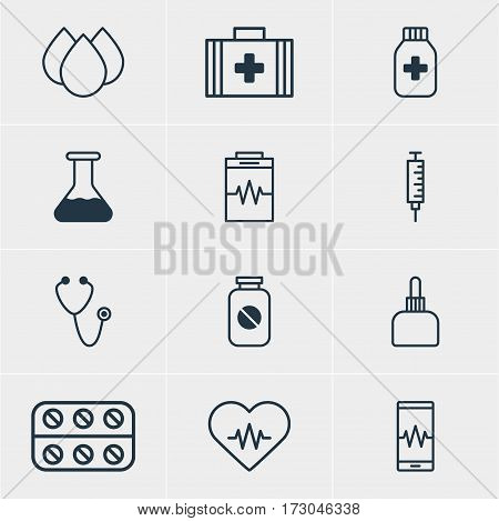 Vector Illustration Of 12 Health Icons. Editable Pack Of Pills, Medicament Pitcher, Aspirin And Other Elements.