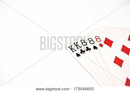 Poker hand rankings symbol set Playing cards in casino: full house on white background, luck abstract, horizontal photo with copyspace