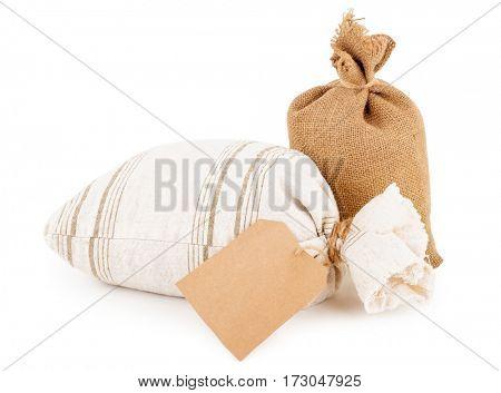 canvas sacks with tag