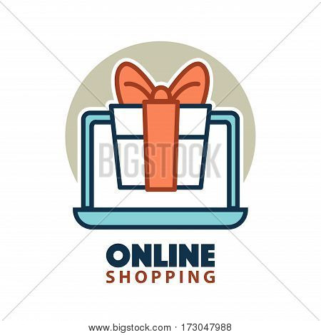 Present gift box in open laptop online shopping concept logo isolated on white background. E-commerce buying vector illustration logotype in flat style. Get a present buying via internet emblem