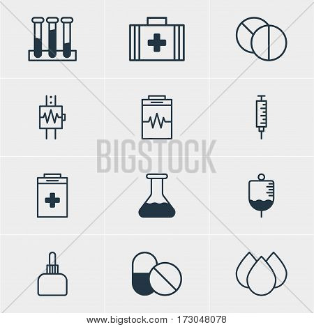 Vector Illustration Of 12 Health Icons. Editable Pack Of Antibody, Trickle, Heartbeat And Other Elements.