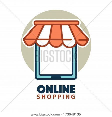 Online shopping logo design with a tablet under waterproof tent. Buy 24 hours day at any weather. Online shopping whole day long without stop. Ecommerce buying vector illustration logo in flat style