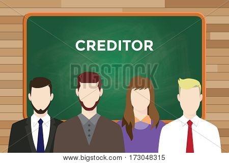 Creditor illustration with four people in front of green chalk board and white text vector