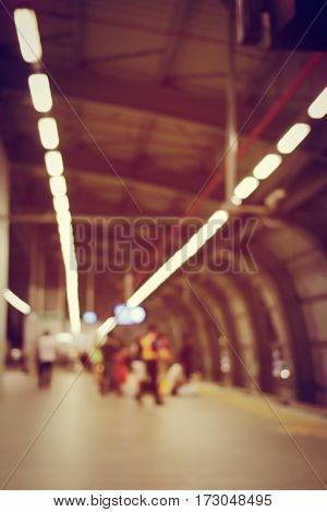 Blurred Image Of Passengers Waiting For Train & Security Man Is Working At Railway Station, Train St
