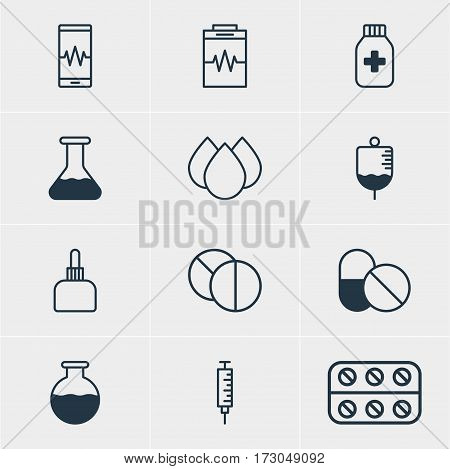 Vector Illustration Of 12 Medicine Icons. Editable Pack Of Trickle, Flask, Antibiotic And Other Elements.