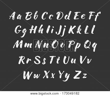 Vector handwritten alphabet. Uppercase and lowercase letters. Modern Brushed Lettering. Alphabet in grunge style