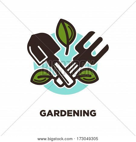 Gardening logo design with spade and rake with green leaves on background of blue spot. Garden instruments advertisement logotype for agriculture company design. Vector illustration in flat style