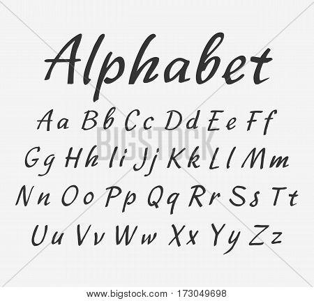 Vector handwritten brush script. Vector handwritten alphabet. Uppercase and lowercase letters.