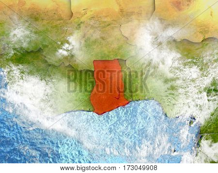 Ghana On Map With Clouds