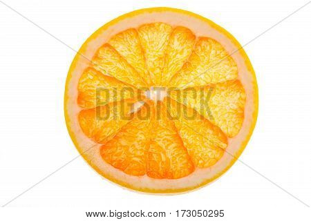 close up view of fresh slice of orange fruit on white