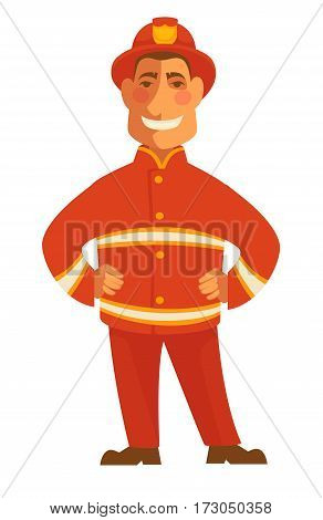Fireman in protective suit isolated on white. Smiling firefighter in red suit vector illustration in cartoon style. Profession character hat with token in flat design