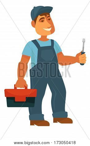 Technician with instrument cluster and screwdriver in hand isolated on white. Repairmen in blue uniform with toolkit or toolbox. Mechanical profession representative. Vector illustration in cartoon