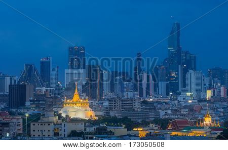 Golden Mount Temple or Wat Sarket the most famous landmark in Bangkok Thailand with beautiful sky after sunset