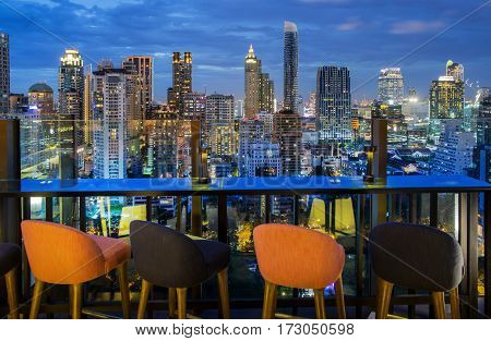 Bangkok Bangkokcity view point from rooftop of building blue sky and city light Thailand