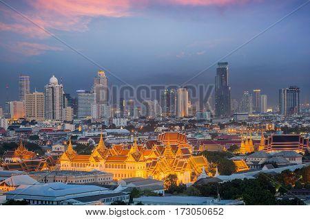 Bangkok sky Landscape of Thai's king palace with wat Arun and Bangkok night in Bangkok city Thailand