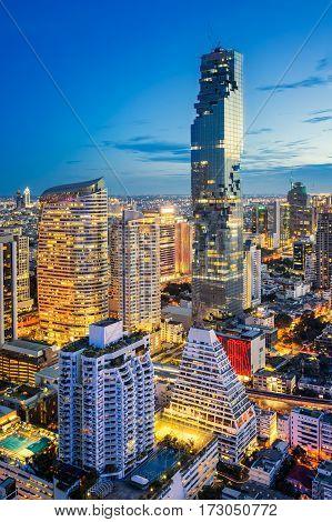 Bangkok city at sunset Bangkok night Mahanakorn tower Silom area Bangkok Thailand