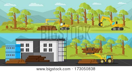 Industrial wood production horizontal banners with timber loader harvester tractor and trees cutting transportation storage processes vector illustration