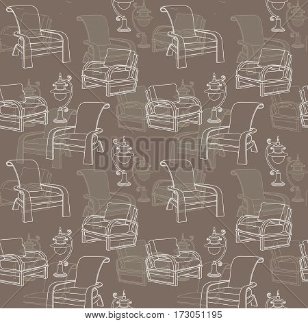 Vector seamless pattern with outline lamp and chair isolated on taupe background. Hand drawn backdrop for wallpaper, design and decoration textile, covers, package, wrapping paper.