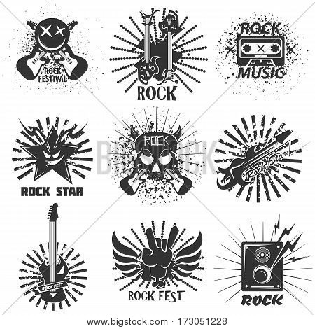 Rock band logo templates. Symbols of electric guitar and drums, skull with devil horns and sound speakers. Vector grunge icons and symbols for rocker music festival
