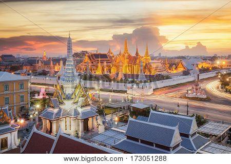 Grand palace and Wat phra keaw at sunset bangkok Thailand