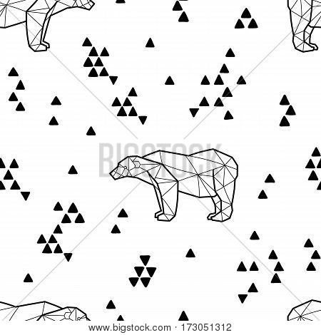 Seamless black and white kids tribal pattern with polar bears and triangles. Vector illustration.