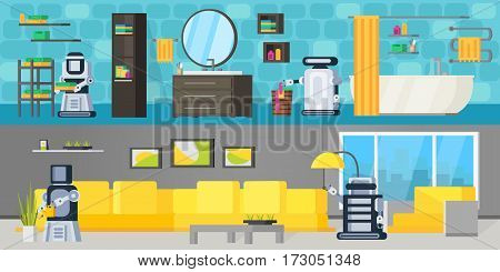 Future technology horizontal banners with robotic assistants acting different housekeeping functions in bathroom and living room vector illustration