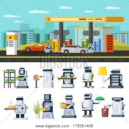 Artificial intelligence concept with robots refuelling cars at gas station and cyborgs replacing people in housekeeping work vector illustration