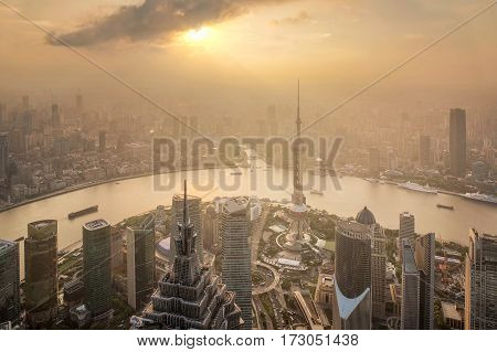 Aerial View of Shanghai Cityscape at sunset and Night shanghai lujiazui finance and trade zone skyline