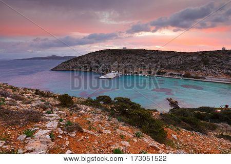 Harbor of Agios Georgios village on Iraklia island in Lesser Cyclades, Greece.