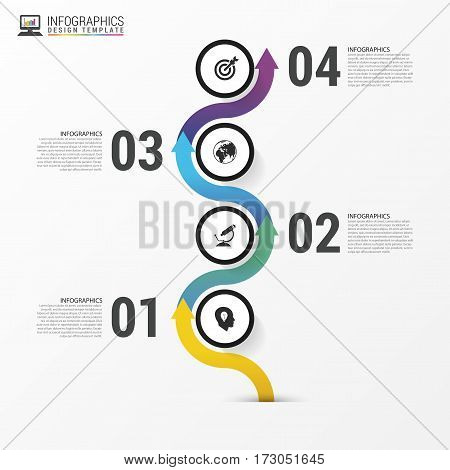 Timeline infographics. Modern design template with icons. Vector illustration