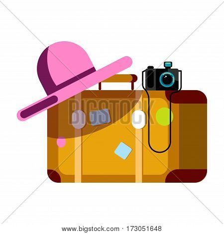 Suitcase with pink wide hat and photo camera isolated on white background. Summer vacation poster with travelling accessories vector illustration in flat style design. Happy holidays elements