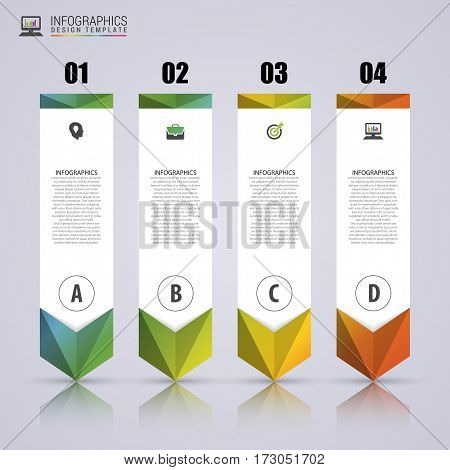 Arrow infographic template. Minimal colorful numbered banners. Can be use for diagram graph presentation chart step options web design. Vector illustration