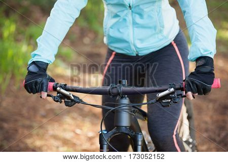 Mid section of female mountain biker riding bicycle in the forest on a sunny day