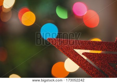 Close-up of red star christmas decoration
