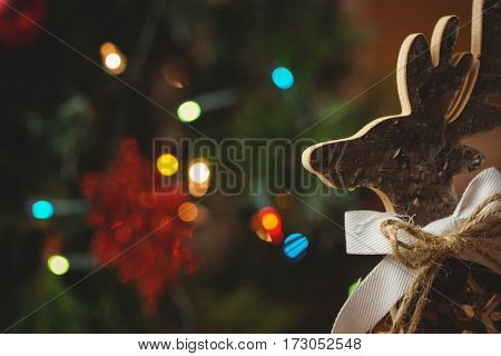 Close-up of wood christmas reindeer during christmas time